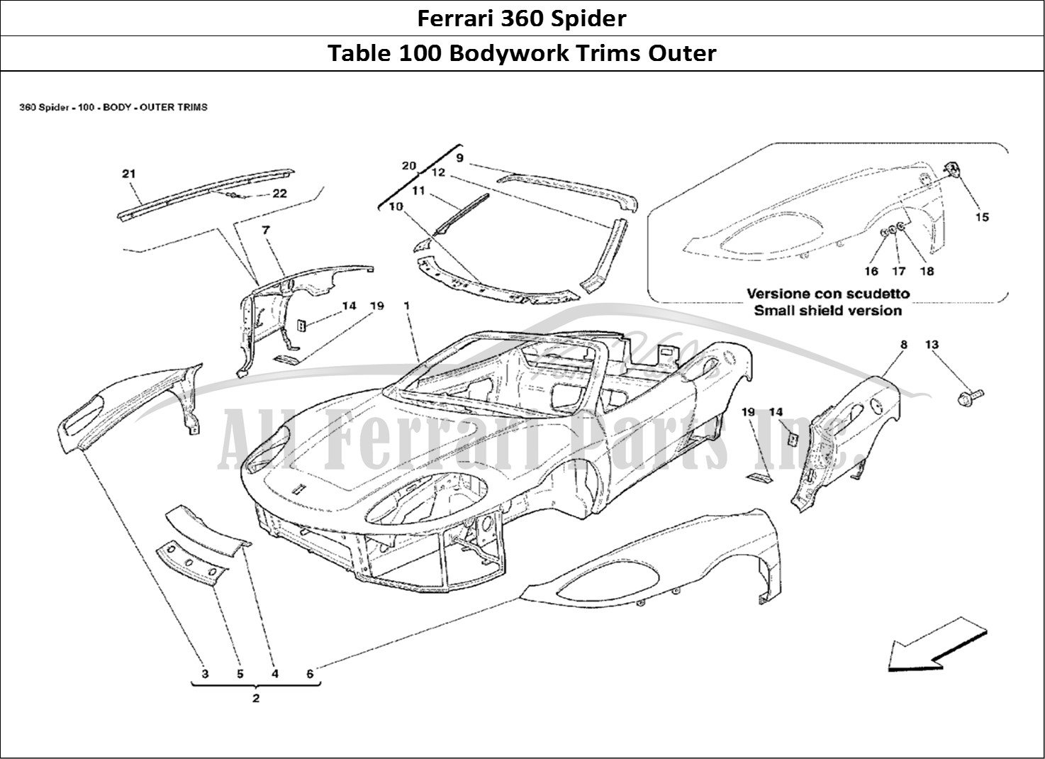 buy original ferrari 360 spider 100 bodywork trims outer ferrari parts  spares  accessories online
