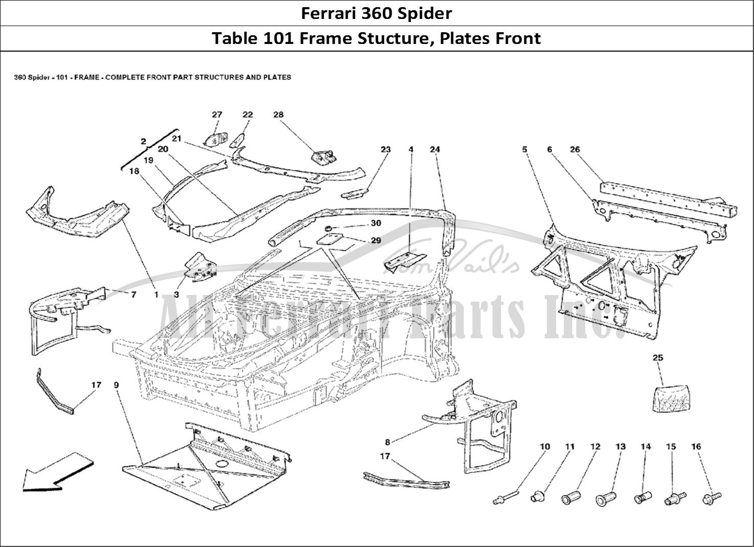buy original ferrari 360 spider 101 frame stucture  plates front ferrari parts  spares