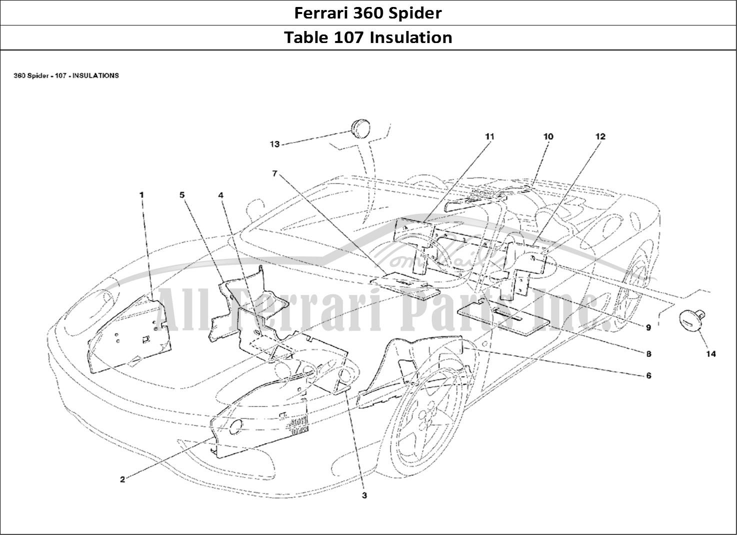 buy original ferrari 360 spider 107 insulation ferrari parts  spares  accessories online