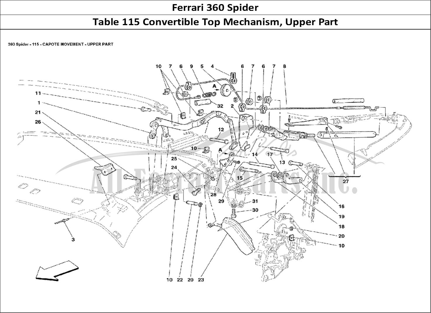 buy original ferrari 360 spider 115 convertible top mechanism  upper part ferrari parts  spares