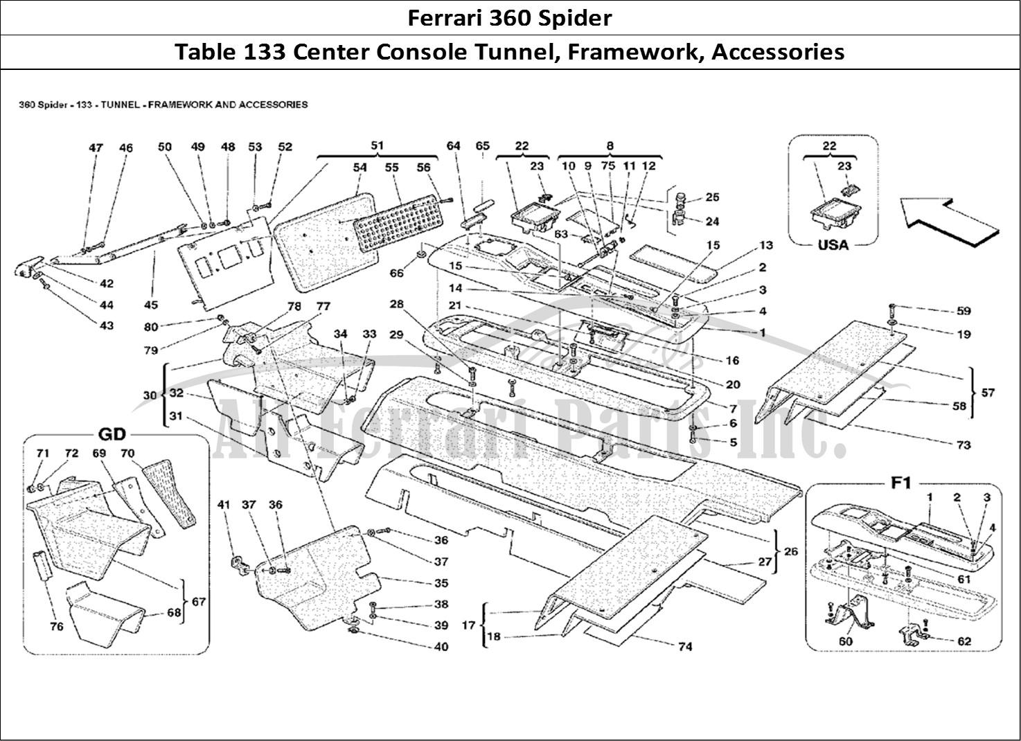 buy original ferrari 360 spider 133 center console tunnel  framework  accessories ferrari parts