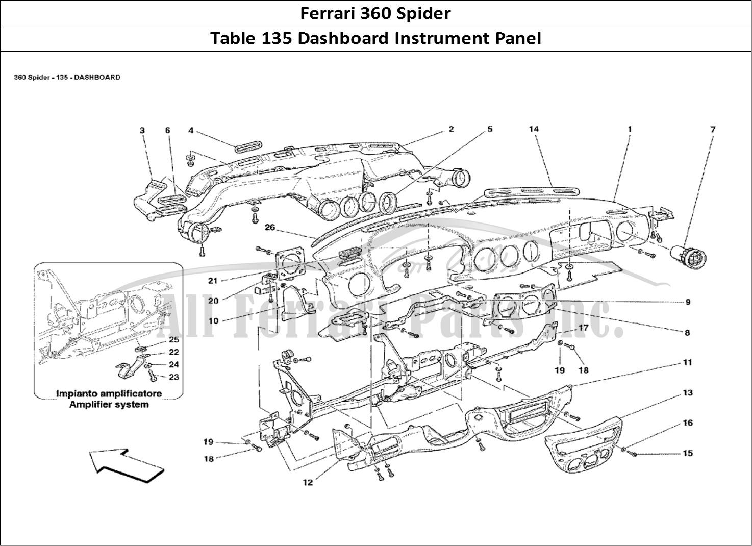 buy original ferrari 360 spider 135 dashboard instrument panel ferrari parts  spares