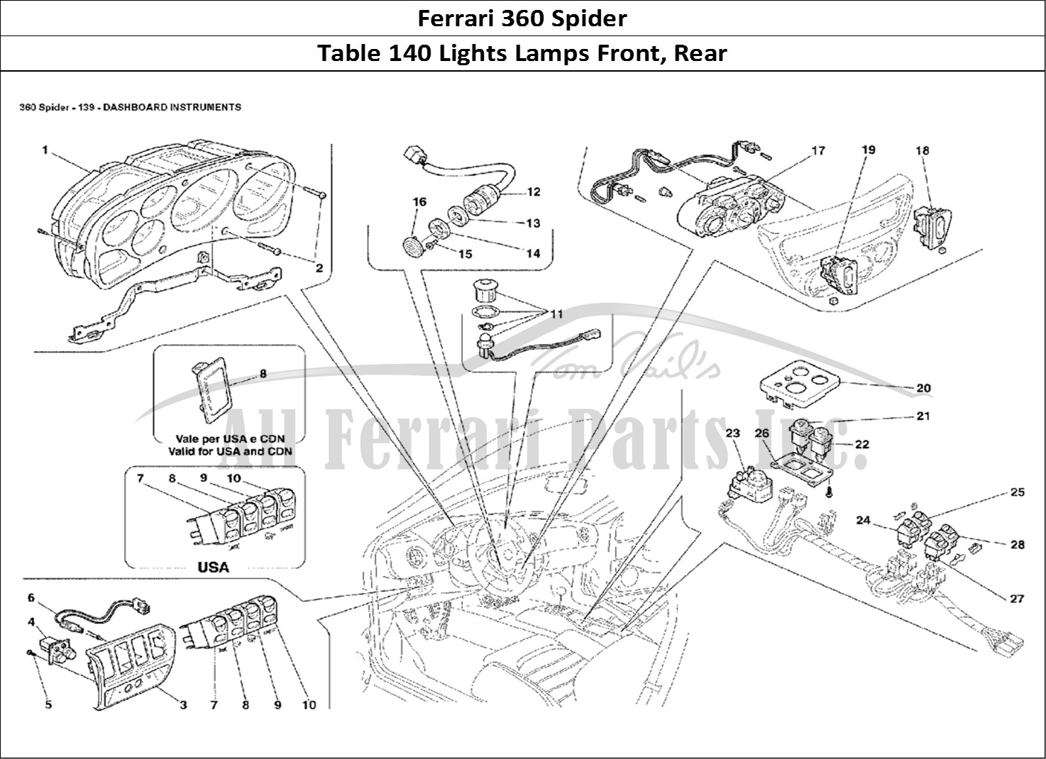 buy original ferrari 360 spider 140 lights lamps front  rear ferrari parts  spares  accessories