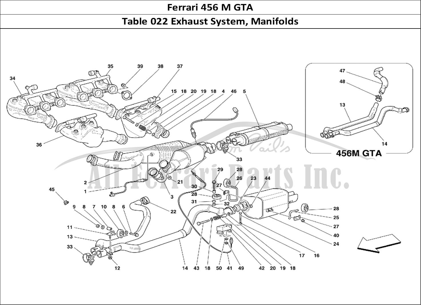 ferrari 456 m gta mechanical table 022 exhaust system, manifolds