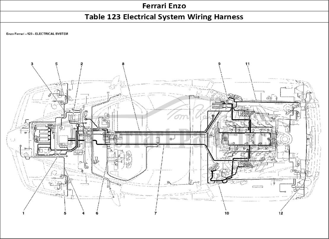 wiring harness table technical wiring diagrambuy original ferrari enzo 123 electrical system wiring harnessferrari enzo bodywork table 123 electrical system wiring