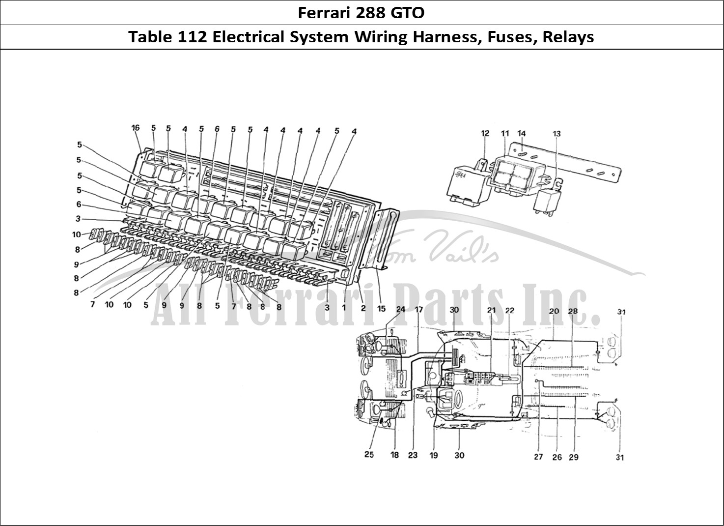 buy original ferrari 288 gto 112 electrical system wiring harness  fuses  relays ferrari parts