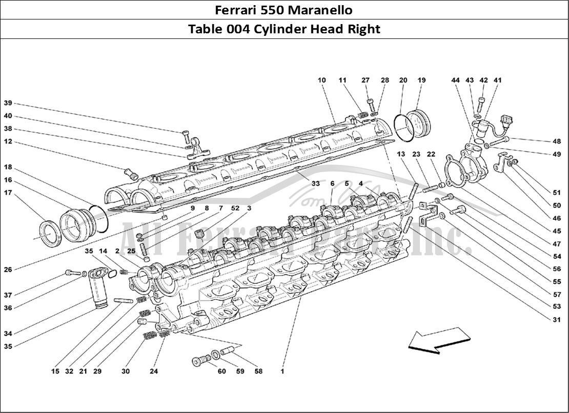 ferrari 550 maranello mechanical table 004 cylinder head right