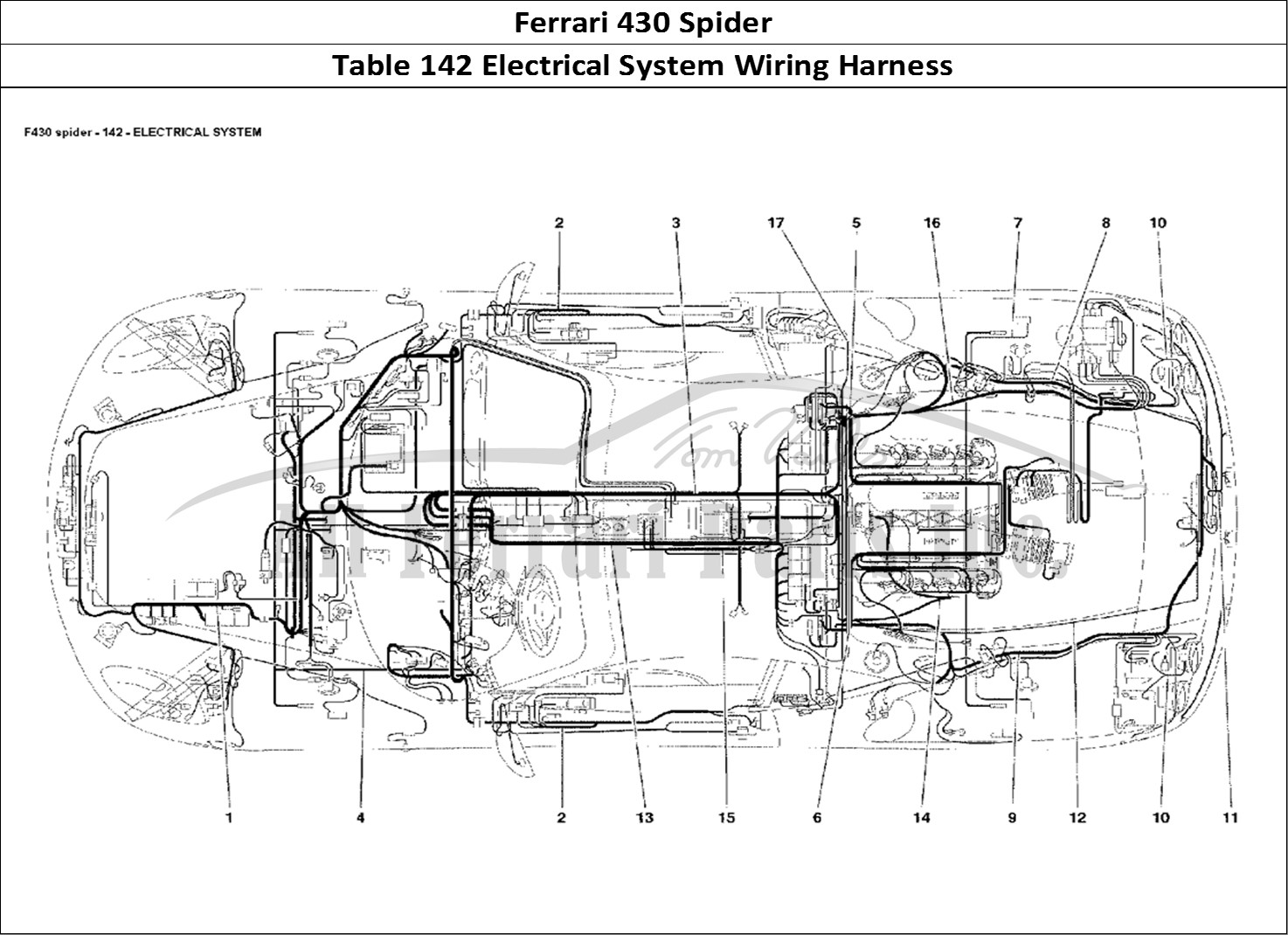 Ferrari spider bodywork table electrical system