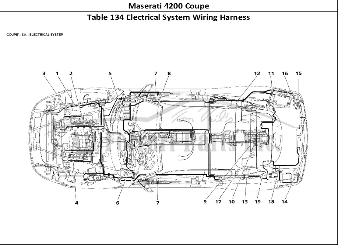 buy original maserati 4200 coupe 134 electrical system wiringmaserati 4200 coupe bodywork table 134 electrical system wiring harness