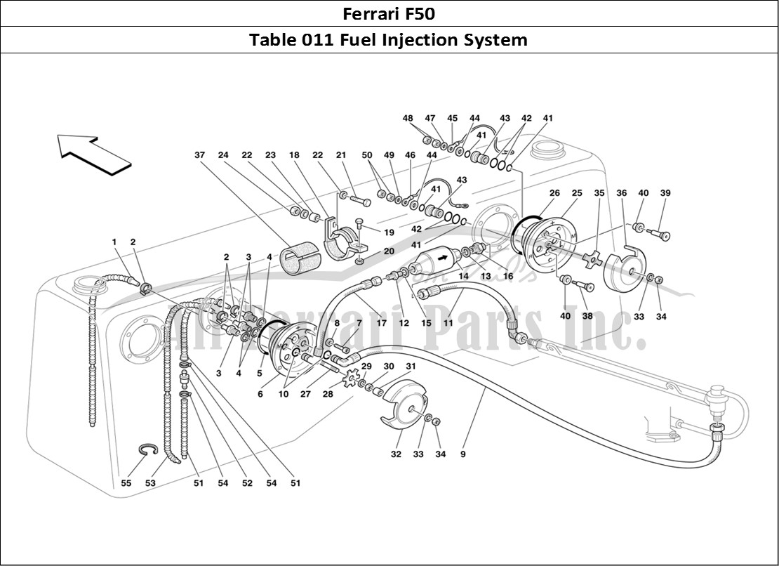 ferrari f50 mechanical table 011 fuel injection system