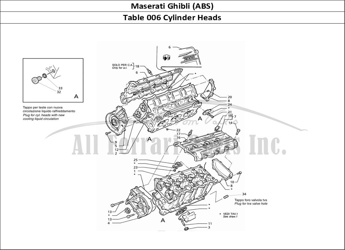 Maserati Ghibli (ABS) Mechanical Table 006 Cylinder Heads