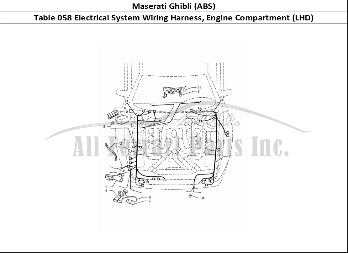 Maserati Ghibli (ABS) Bodywork Table 058 Electrical System Wiring Harness,  Engine Compartment (LHD)