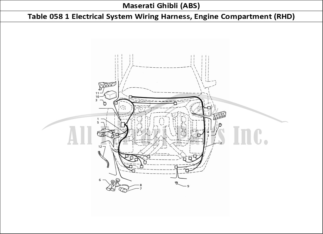 maserati ghibli (abs) bodywork table 058 1 electrical system wiring harness,  engine compartment (rhd)