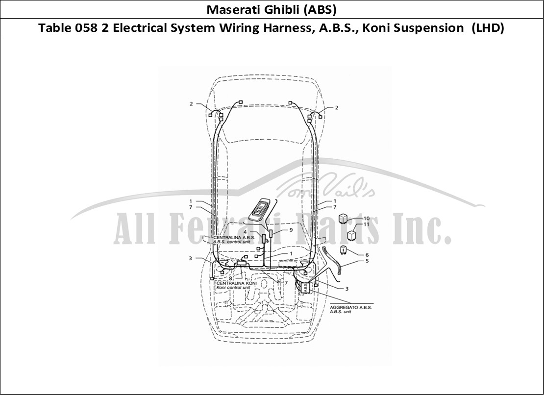 maserati ghibli (abs) bodywork table 058 2 electrical system wiring harness,  a b s , koni suspension (lhd)