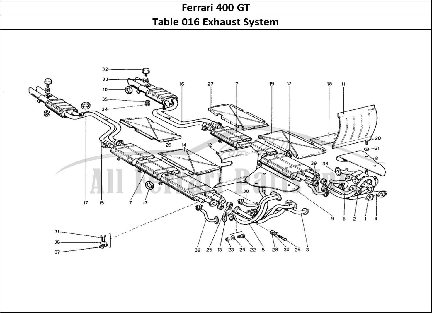 ferrari 400 gt mechanical table 016 exhaust system
