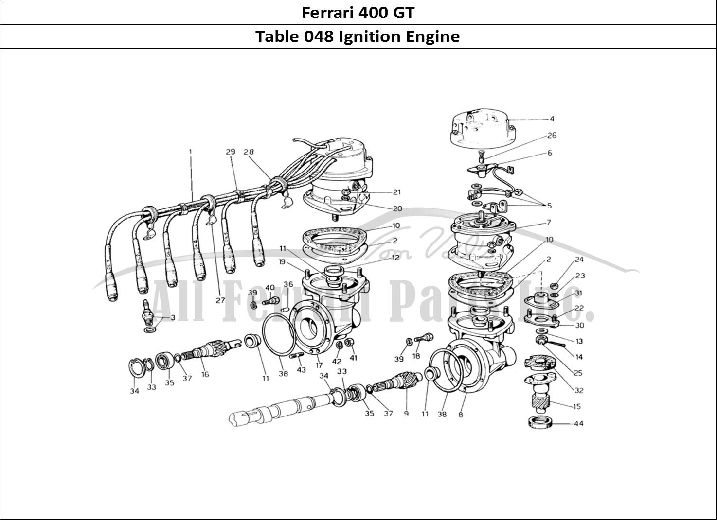 Ferrari 400 GT Mechanical Table 048 Ignition Engine
