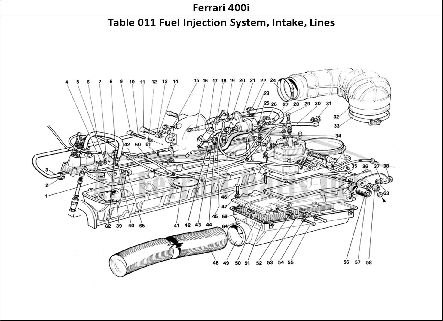 Buy Original Ferrari 400i 011 Fuel Injection System Intake Lines Diagram Mechanical Table