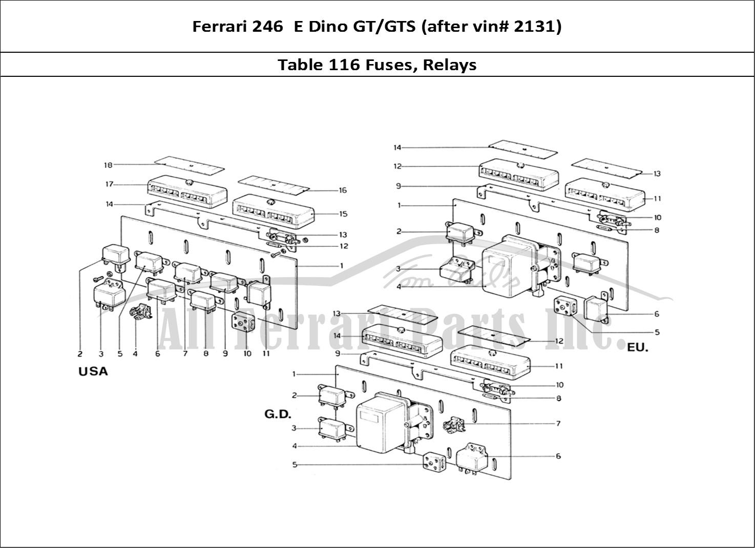 Buy Original Ferrari 246 E Dino Gt Gts After Vin 2131 116 Fuses 308 Fuse Box Bodywork Table Relays