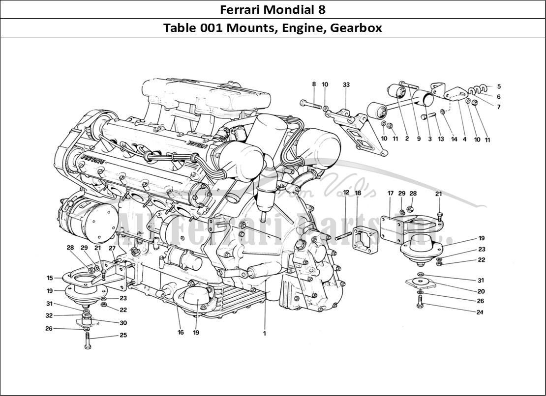 Ferrari Mondial 8 Mechanical Table 001 Mounts, Engine, Gearbox