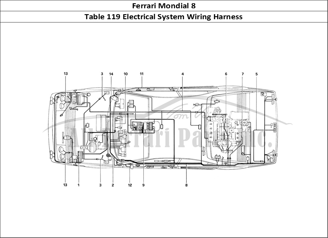 tbl13907 ferrari mondial 8 bodywork table 119 electrical system wiring harness ferrari 308 gt4 wiring diagram at reclaimingppi.co