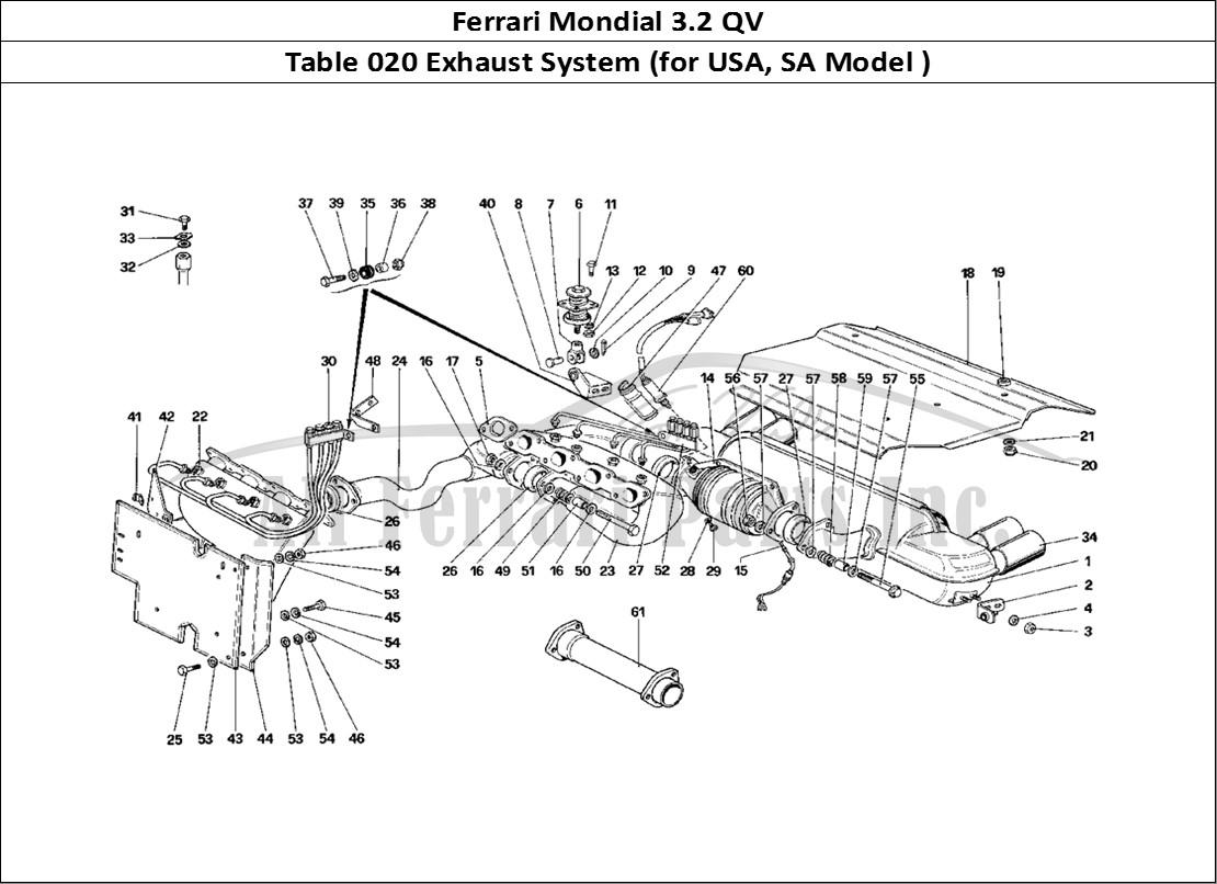 Buy Original Ferrari Mondial 32 Qv 020 Exhaust System For Usa Sa Diagram Of Mechanical Table Model