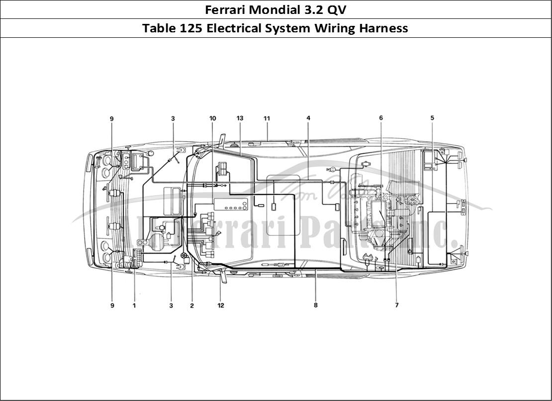 Ferrari mondial 32 qv bodywork table 125 electrical system wiring ferrari mondial 32 qv bodywork table 125 electrical system wiring harness greentooth Choice Image