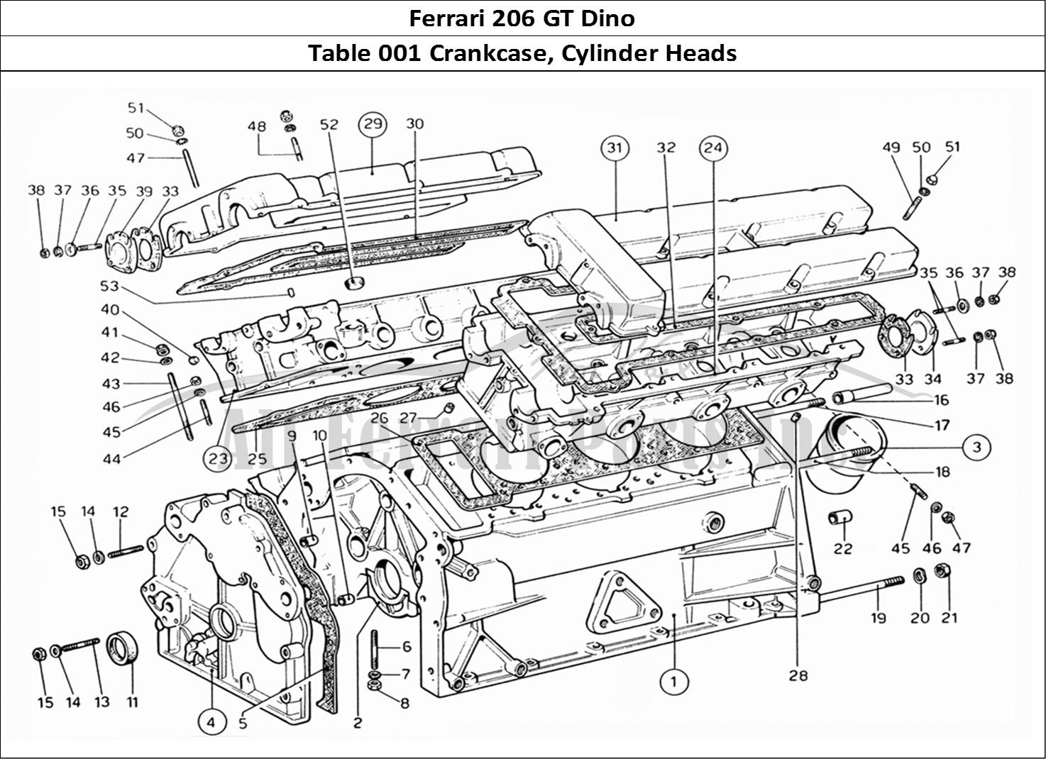 Ferrari 206 GT Dino Mechanical Table 001 Crankcase, Cylinder Heads