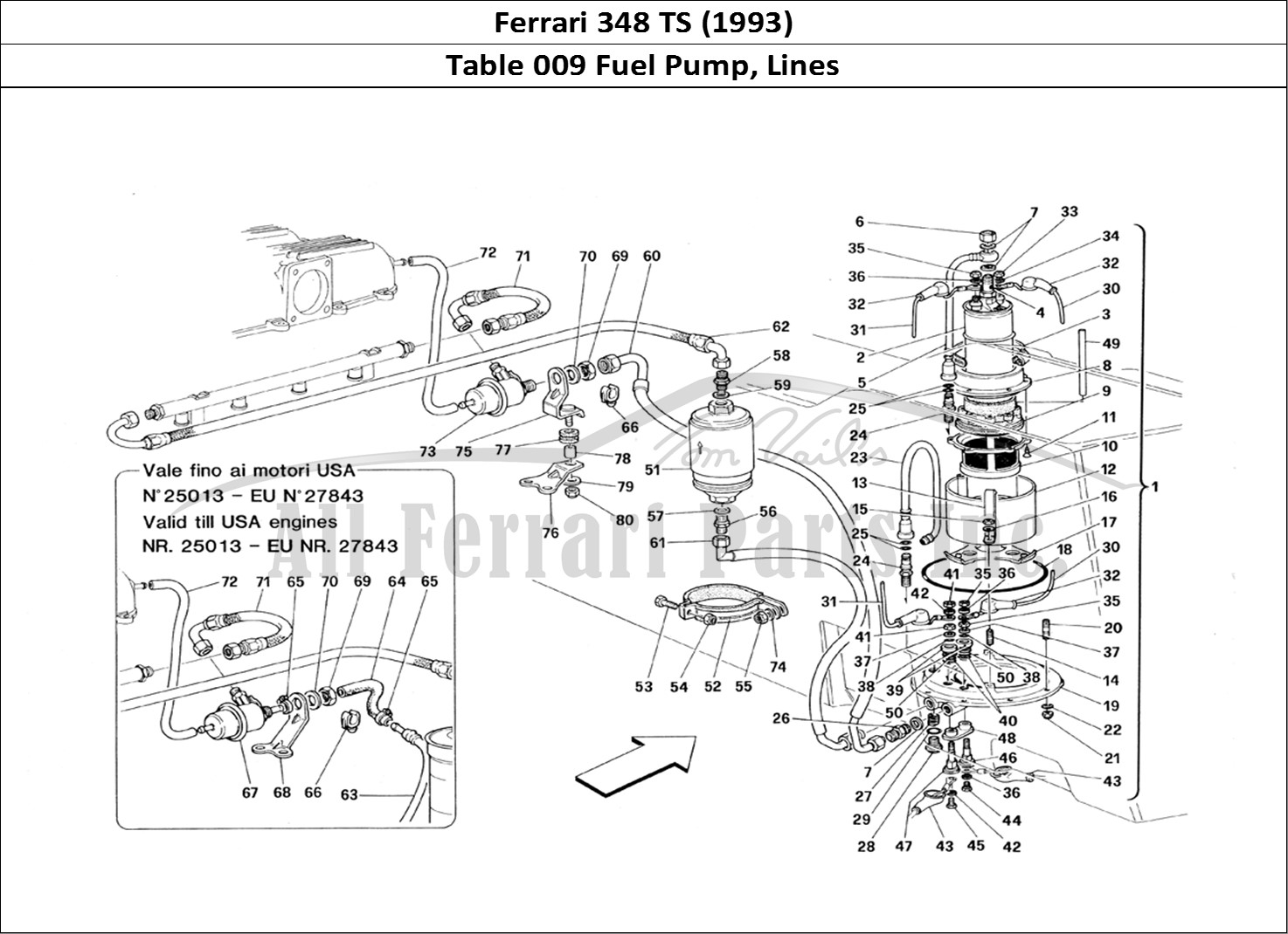 buy original ferrari 348 ts  1993  009 fuel pump  lines