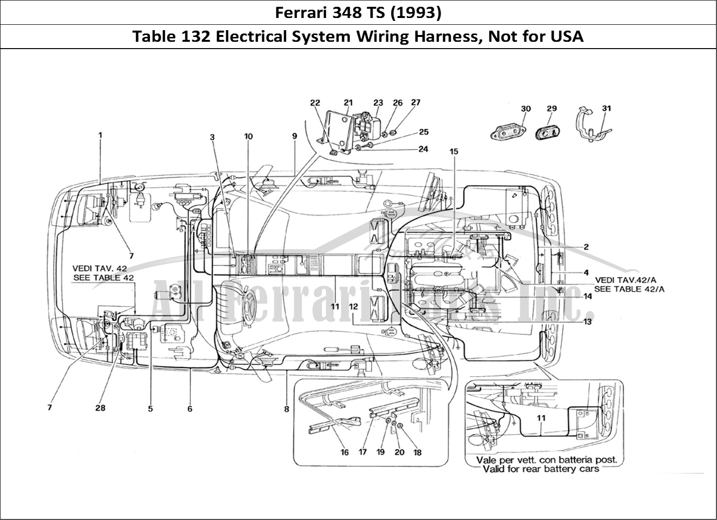 buy original ferrari 348 ts  1993  132 electrical system wiring harness  not for usa ferrari