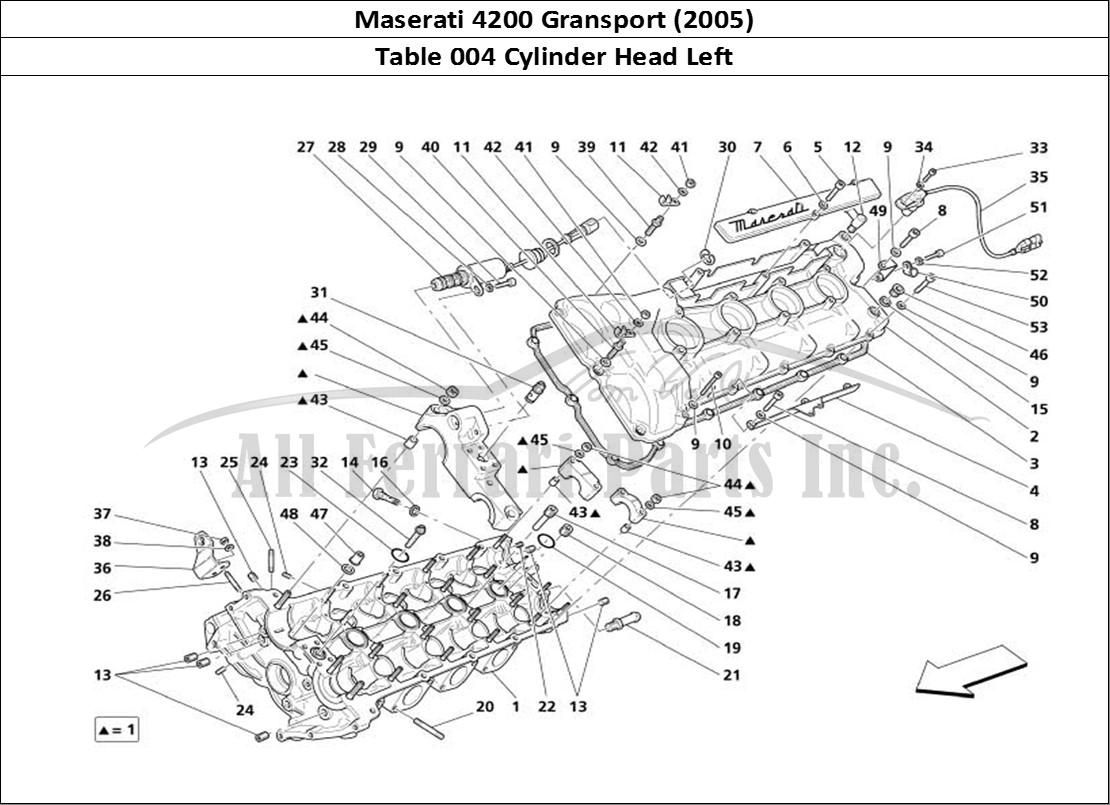 buy original maserati 4200 gransport  2005  004 cylinder head left ferrari parts  spares