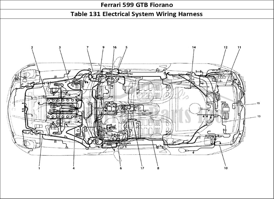 ferrari 599 gtb fiorano bodywork table 131 electrical system wiring rh allferrariparts com Ferrari F12 Berlinetta Ferrari 599 Engine