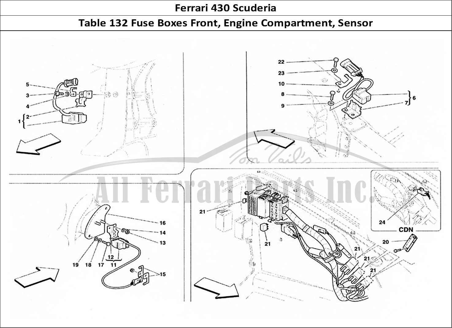 Ferrari 430 Fuse Box Diagram Vehicle Wiring Diagrams Scuderia Bodywork Table 132 Boxes Front Engine Partment Sensor