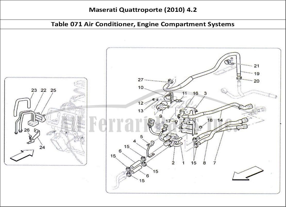 Maserati Quattroporte (2010) 4.2 Bodywork Table 071 Air Conditioner, Engine  Compartment Systems