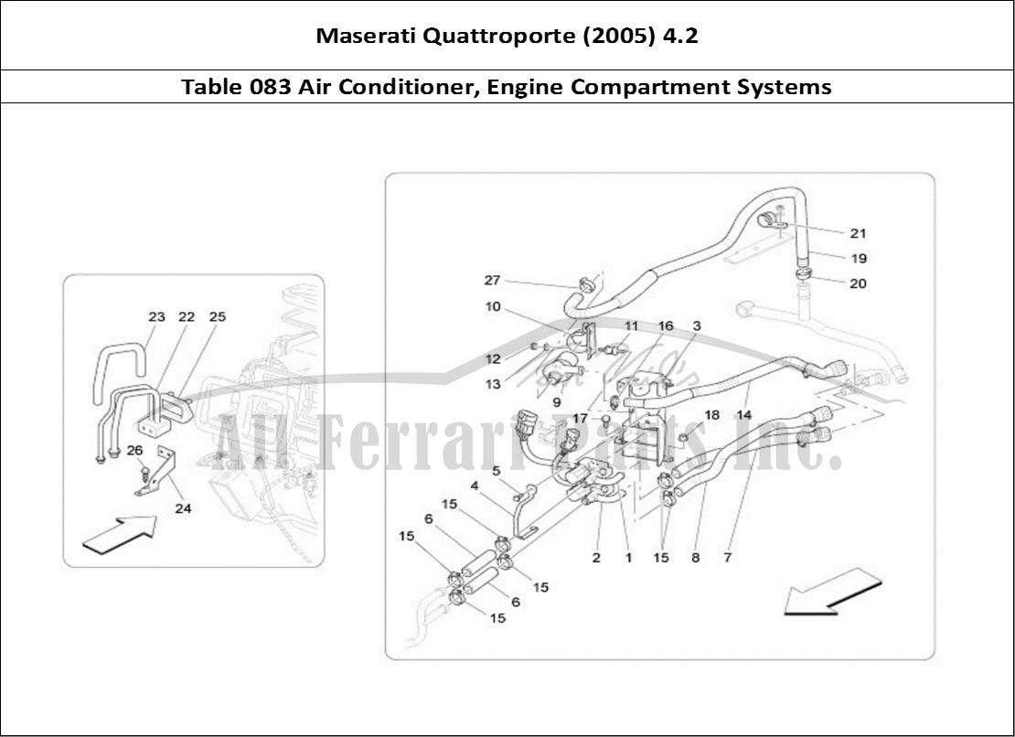 Maserati Quattroporte (2005) 4.2 Bodywork Table 083 Air Conditioner, Engine  Compartment Systems