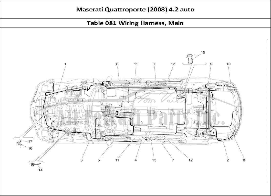 Maserati Quattroporte (2008) 4.2 auto Bodywork Table 081 Wiring Harness,  Main