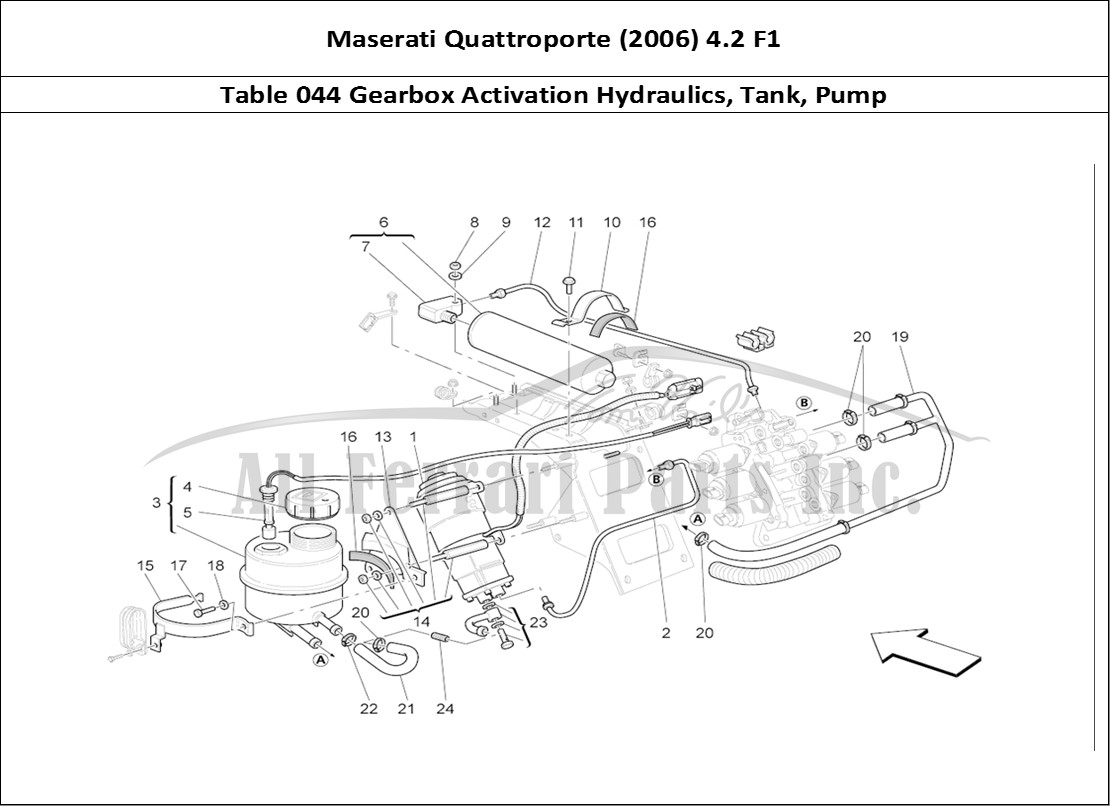 Maserati Quattroporte (2006) 4.2 F1 Mechanical Table 044 Gearbox Activation  Hydraulics, Tank, Pump