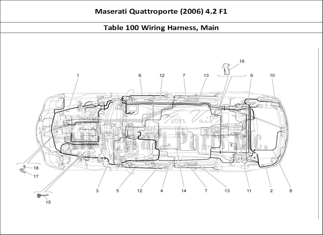 Maserati Quattroporte (2006) 4.2 F1 Bodywork Table 100 Wiring Harness, Main