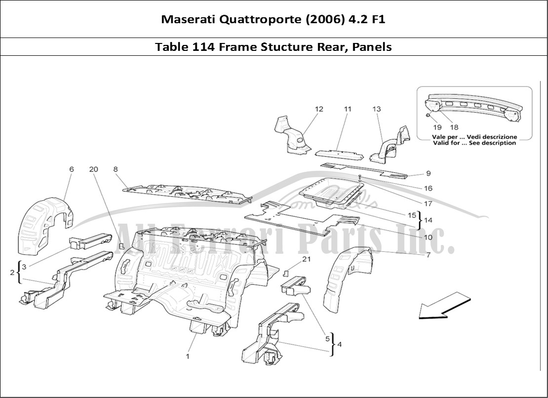 Buy Original Maserati Quattroporte 2006 42 F1 114 Frame Stucture Engine Diagram Bodywork Table Rear Panels