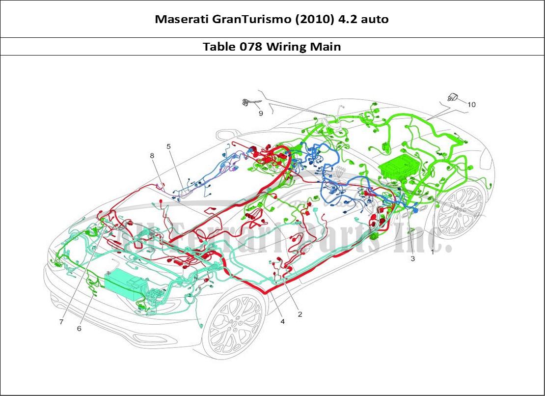 Maserati GranTurismo (2010) 4.2 auto Bodywork Table 078 Wiring Main