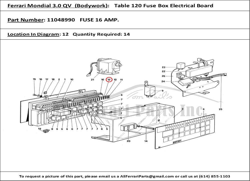 ferrari part 11048990 fuse 16 amp. in ferrari mondial 3.0 qv (1984)  (bodywork table 120 fuse box electrical board)  all ferrari parts