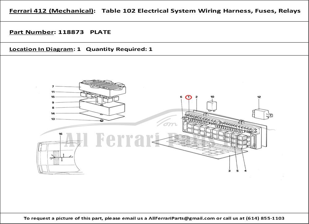 Ferrari Part 118873 Plate In Ferrari 412  Mechanical