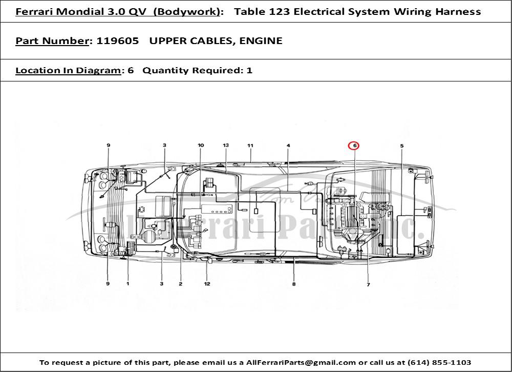 Ferrari Part 119605 Upper Cables  Engine In Ferrari