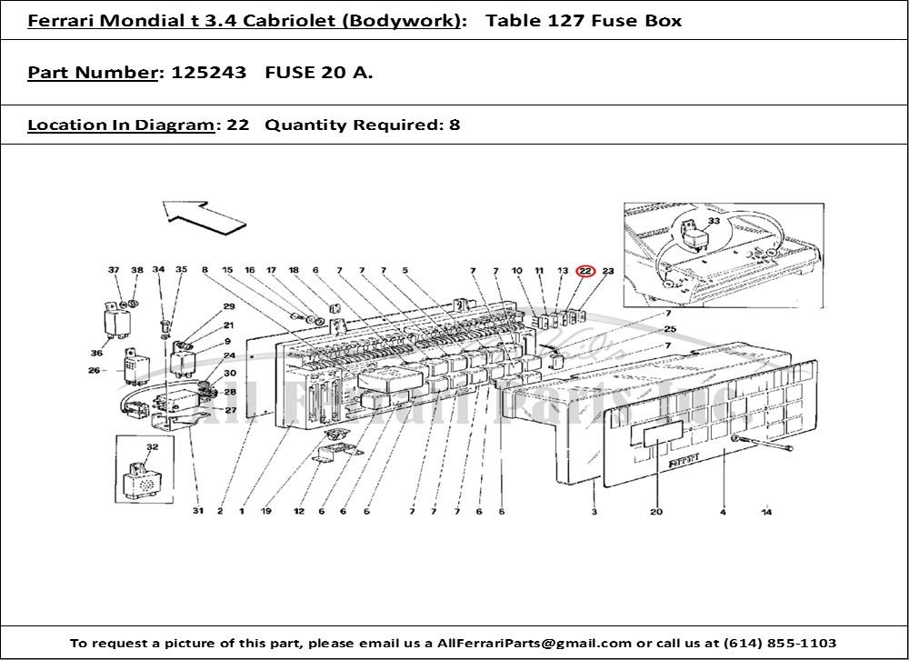 Ferrari Part 125243 Fuse 20 A  In Ferrari Mondial 3 4 T