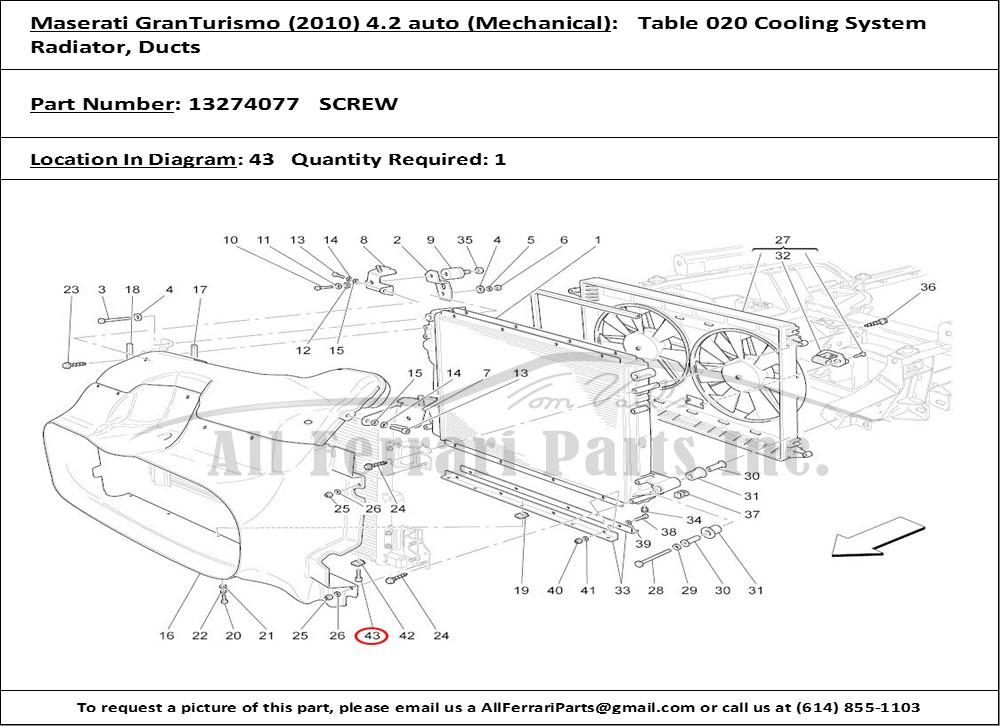 Ferrari Part 13274077 Screw In Maserati Granturismo  2010