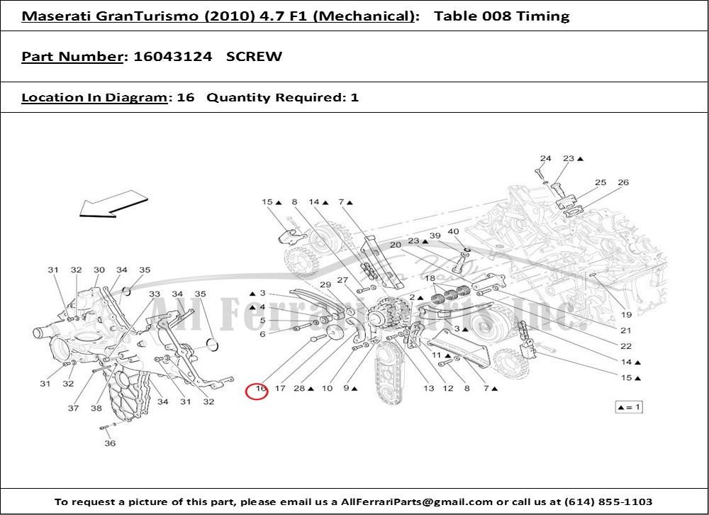 Ferrari Part 16043124 Screw In Maserati Granturismo  2010