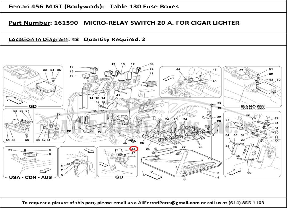 Ferrari Part 161590 Micro-Relay Switch 20 A. For Cigar Lighter in Ferrari  456 M GT (Bodywork Table 130 Fuse Boxes)All Ferrari Parts