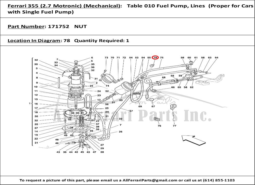 Ferrari 355 Fuel Filter Union Nut # 171752