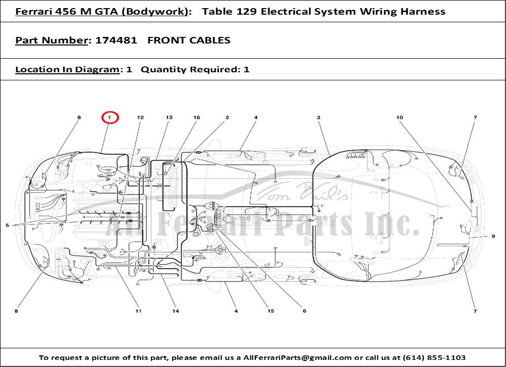 Ferrari Part 174481 Front Cables In Ferrari 456 M Gta
