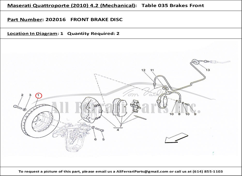 Ferrari Part 202016 Front Brake Disc In Maserati Qtp   2010  4 2  Mechanical Table 035 Brakes Front
