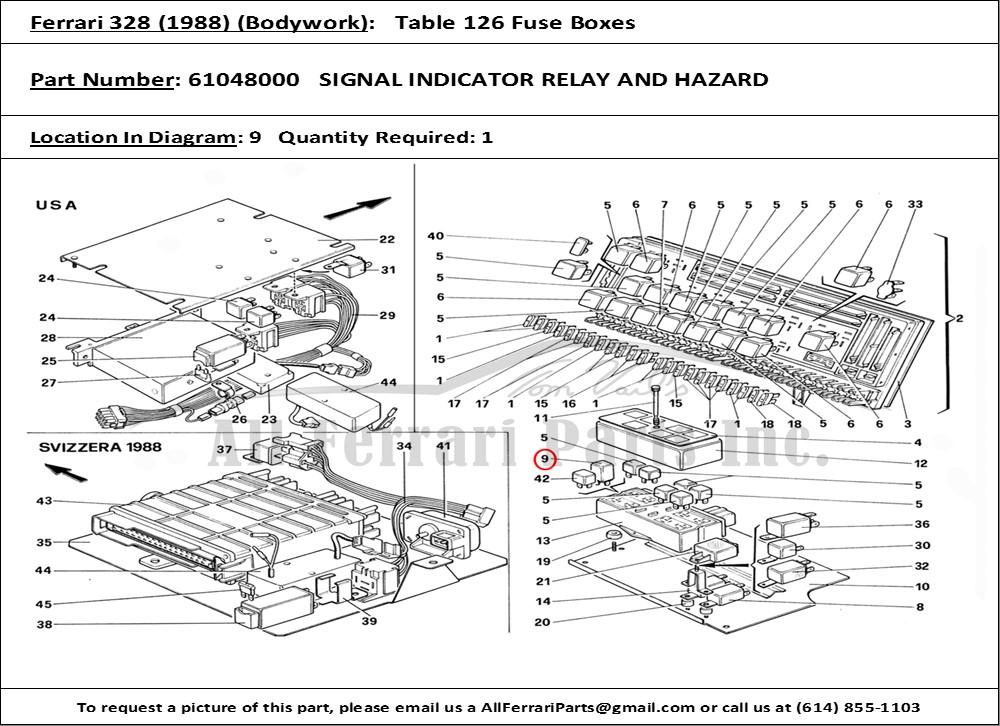 Ferrari Part 61048000 Signal Indicator Relay And Hazard In Ferrari 328 1988 Bodywork Table 126 Fuse Boxes